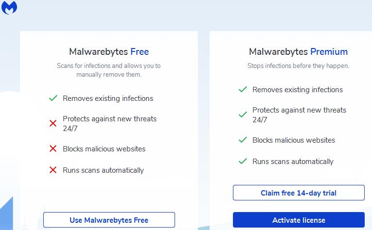 installing Malwarebytes free version