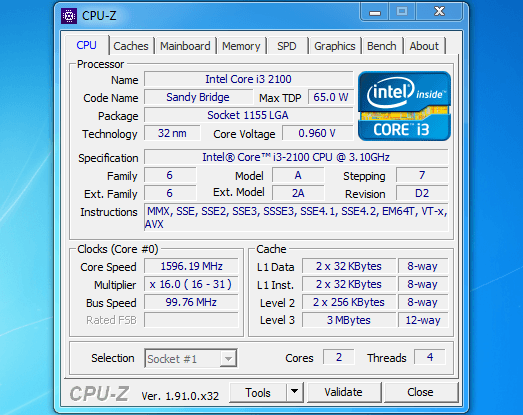 CPU Z - Useful Small Application for Windows